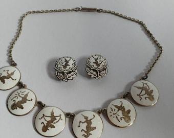 Vintage silver demi parure Siam Sterling