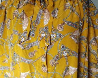 Vintage novelty print equestrian blouse