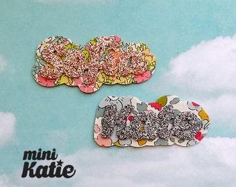 mini Katie - Spring Name Hair Barrettes, Custom Name Hair Clip for Baby Girls Todllers Kids