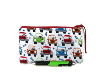 Cars pencil case, Boys pencil case, Small pouch, colorful cars, Kids pouch, Gadget pouch, Boys gift, School supplies, Cars, Geek bag