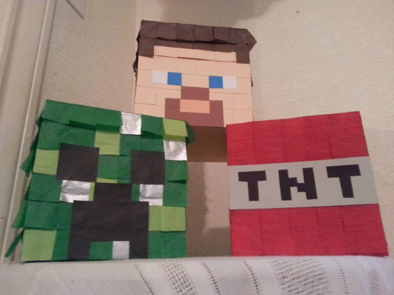 Mini pinatas set minecraft tnt creeper head by maricelapinatas - Minecraft head decoration ...