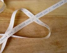 """Grosgrain """"thank you"""" ribbon, craft label ribbon per metre"""