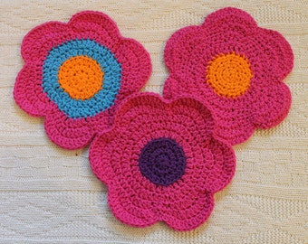 Crocheted Flower Dishcloths in Colorful Varieties 100% Cotton