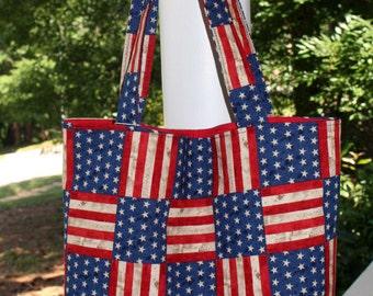 Patriotic Market Tote, July 4th Tote Bag, Market Tote, All Purpose Tote Bag, Military Tote Bag