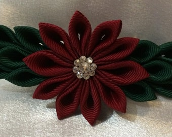 Wine And Dark Green Kanzashi Style French Barrette