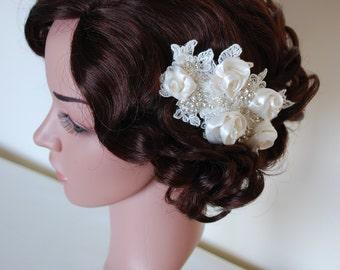 Bridal headpiece, ivory headpiece, bridal comb, roses headpiece, bridal hair accessories, wedding headpiece, roses and diamante headpiece,