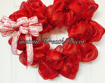 Red Valentines Heart Wreath, Deco Poly Mesh Wreath, Love Wreath, Valentines Heart