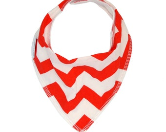 Orange Chevron Dribble Bib - Handmade Australian Adjustable Bib for Baby Boys & Girls - Made in Sydney