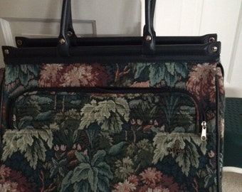 Atlantic Floral Tapestry Carry on Travel Bag Hunter Green  Weekender  1980's  Vinyl Double Double Handles