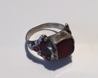 Size 8.5-Antique Kochi Ring Tribe old silver Ring Exotic collectible statement /vintage/gypsy Style/Tribal/Ethnic/NJN089