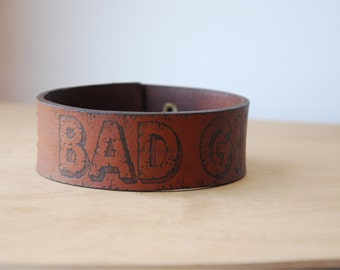 Brown Leather Collar Bad Girl adjustable size in stock