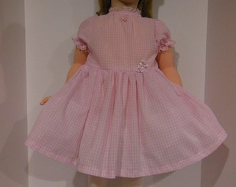 "Pink Gingham School Dress for 35"" Betsy McCal and also fits 36"" Patti Play Pal & 36"" Shirley Temple l Dolls"