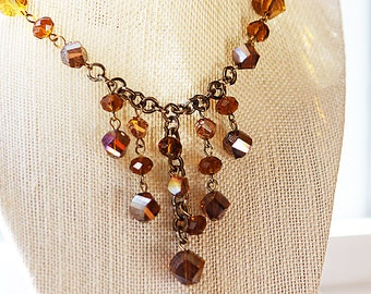 Dazzling Copper Necklace, Iridescent Copper Beaded Necklace, Copper Beads Antique Brass Chain, Dangle Necklace, Brown Necklace, Bib Necklace