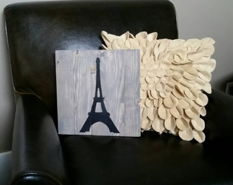 12x12 Eiffle Tower - Paris, France - painted wood sign