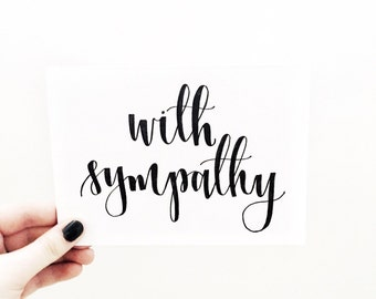 With Sympathy Card - Hand Lettered Card