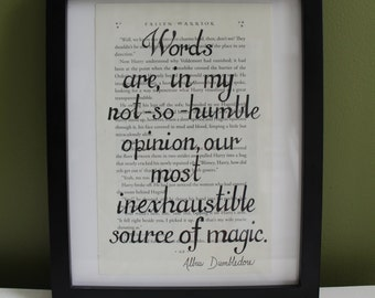 Harry Potter Quote, Print on Harry Potter Page, Upcycled Book Art
