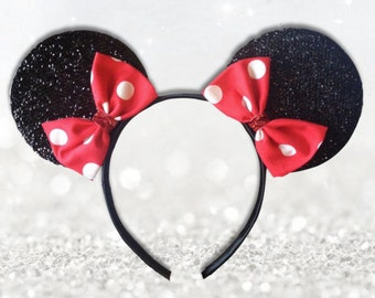 Sparkly Polka Dot Elegant Minnie Mouse Ears with RED  DOUBLE Bow