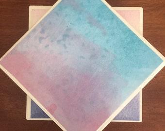 Blue tile coasters, watercolor coasters, blue watercolor coasters, ceramic tile coasters, tile coasters, coaster set, drink coasters