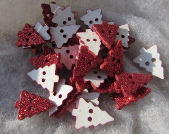 Red Glitter Christmas Tree Buttons