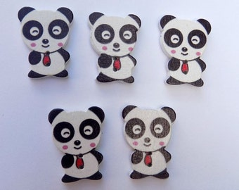 5 Panda Shape Buttons - #SB-00042