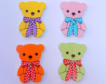 4 Colourful Teddy Bear Buttons - #SB-00052