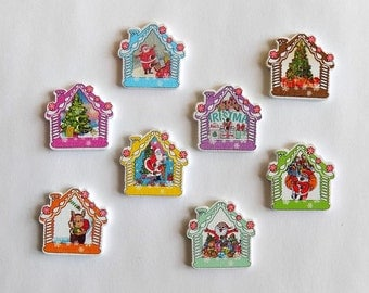 8 Christmas House Buttons - #C-00023