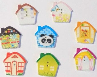 8 Little Houses  Buttons - #SB-00025
