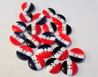 20 Red White Blue Stripped Buttons - #R-00059