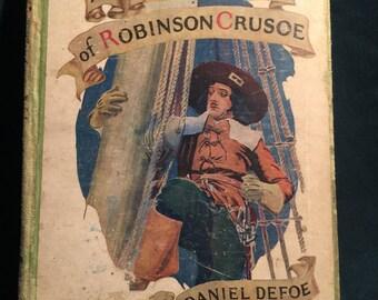 Robinson Crusoe: The Adventures of Robinson Crusoe; Vintage Book; Antique Book; Book art work; Collectible Book; kids book;