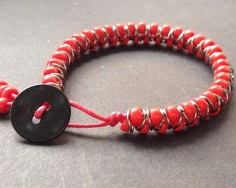 Red beaded friendship bracelet