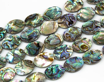 Natural Abalone Flat Oval Beads. A Quality 15.5 inch strand
