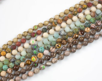Long Knotted - Preknotted Necklace-  Assorted Gemstones-8mm 36 inches Long- Ready to wear- Long Necklace