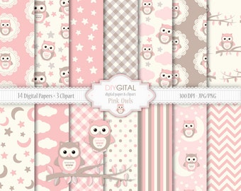 Pink Owls - Baby Girl Digital Paper Set-Three Clipart included- Pink and brown paper with stars, moon, owls,clouds-Baby Shower-Its a girl