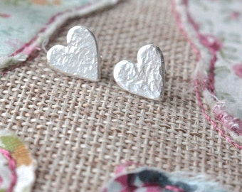 Silver Heart Stud Earrings