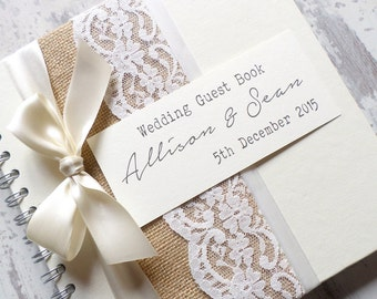 Rustic Hessian/Burlap and Lace Wedding Guest Book, Scarpbook - Handmade with Satin bow in your Colour Choice, Personalised, Personalized