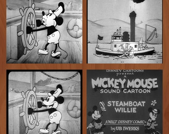 Handmade Ceramic Coasters - Steamboat Willie - Set of 4 - Mickey Mouse