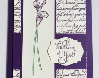 Card, Thinking of you, Greeting Card, Calla Lily, En Francais, Purple Card, Care and Concern