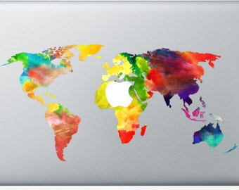 Watercolor macbook etsy sticker macbook watercolor worldmap decal for macbook air pro retina 11 12 13 gumiabroncs Image collections