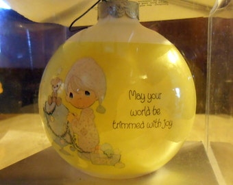 1980 Precious Moments Glass Ornament - May your World be Trimmed With Joy - Christmas Ornament - Vintage ornament -  Epsteam