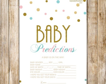 BABY PREDICTION Card, Pink Teal Gold Baby Shower Game, Digital Baby Predictions, Gender Neutral Shower Game, Instant Download Diy Printable