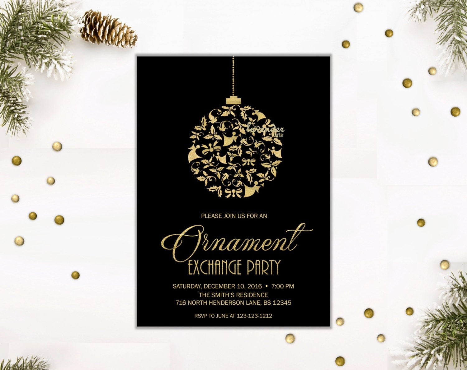 Ornament Exchange Party Invitation Gold Glitters Christmas Cocktail