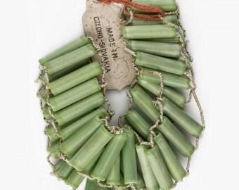 Vintage Pre-war opaque glass mint green bugle beads. 40 beads, 14-15mm in length. b11-gr-2036(e)