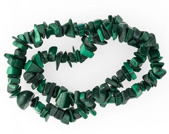 "Vintage natural malachite chip gemstone beads, average 11x5mm,  15"" strand. b4-mal212(e)"
