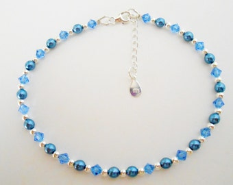 Blue Bead Anklet, Blue bead Ankle Bracelet, Pearl Anklet, Blue Ankle Bracelet, Blue and Silver Anklet, Crystal Anklet