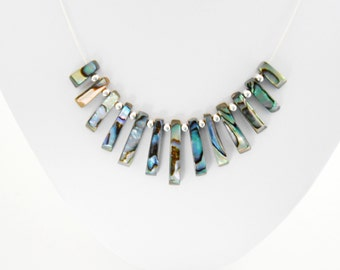 Paua Shell Necklace, Sterling Silver & Paua Shell Necklace, Shell Necklace, Abalone Necklace