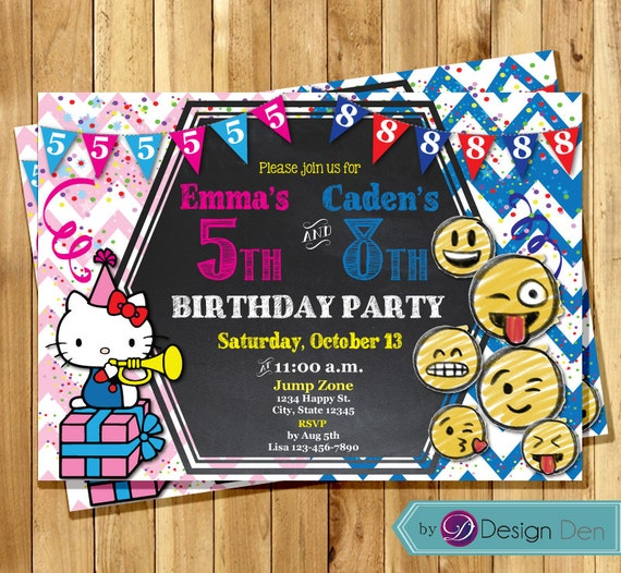 Printable Joint Birthday Party Invitations ~ Hello kitty emoji joint birthday invitations