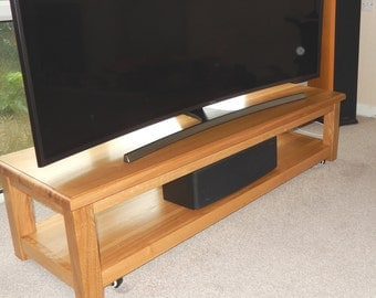 TV Stand, Media Console, Low Media Storage Unit for Large TV, Handmade, Oak, Widescreen TV Stand, Media Storage, Entertainment Centre,