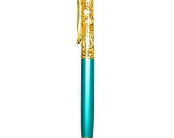 Gold sparkling pen blue