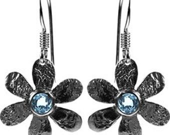 Sterling Silver Daisy Flower Gemstone Drop Earrings
