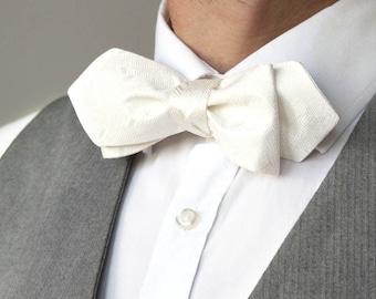 Mens bow tie Pure silk white ivory men's self tie bow tie bow tie Boom Bow S182 straight diamond point